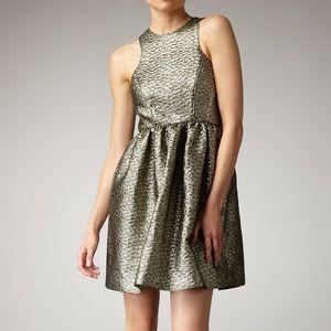 NEW TIBI Gold Metallic Paisley Jaquard Dress 4